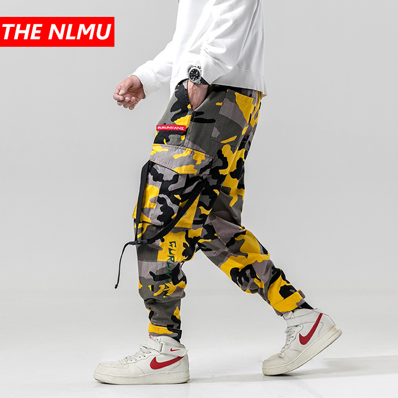 Harem Pants Camouflage Men Cargo Pant Tactical Streetwear Pant Yellow Casual Camo Trousers Multi Pocket 2019 Spring WG219 pocket