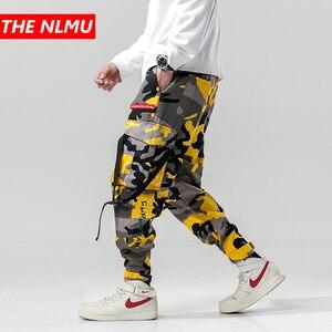 Image 1 - הרמון מכנסיים הסוואה גברים מטענים צפצף טקטי Streetwear צפצף צהוב מקרית Camo מכנסיים רב כיס 2019 אביב WG219