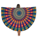 Boho Peacock Feather Print Round Hippie Tapestry Beach Throw Mandala Towel Table Picnic Mat Shawl Fashion Pashmina Wrap Nov2