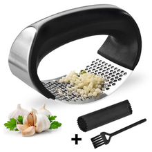 3Pcs/Set Home Manual 304 Stainless Steel Ginger Mashed Garlic Masher + Peeling Cleaning Brush Kitchen Tool Utensil Kit