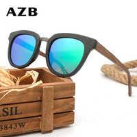 AZB 2018 Designer แว่นตากันแดด Man Retro คลาสสิกแว่นตากันแดดไม้ Polarized แว่นตากันแดดแว่นตา Oculos จัดส่งฟรี