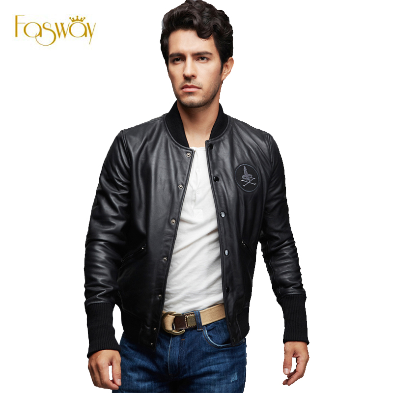 Black Leather Bomber Jacket Men - Coat Nj