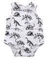 Baby Girl Boy Ropa Dinosaurios Corto Sin Mangas de Impresión 2016 Del Verano Del Mameluco Del Bebé Recién Nacido Siguiente Buzos y Rompers
