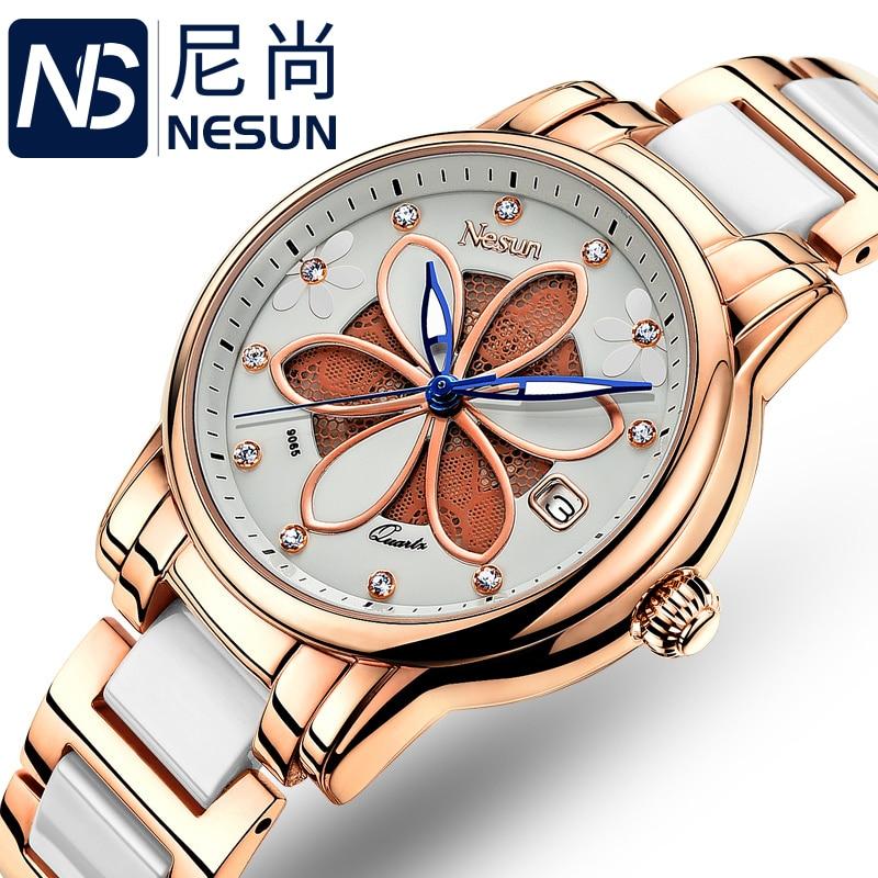 Saatler'ten Kadın Saatleri'de Yeni İsviçre Nesun kadın Saatler Lüks Marka quartz saat Kadınlar Altı yapraklı çim tasarım Saati Elmas Saatı N9065 1'da  Grup 1