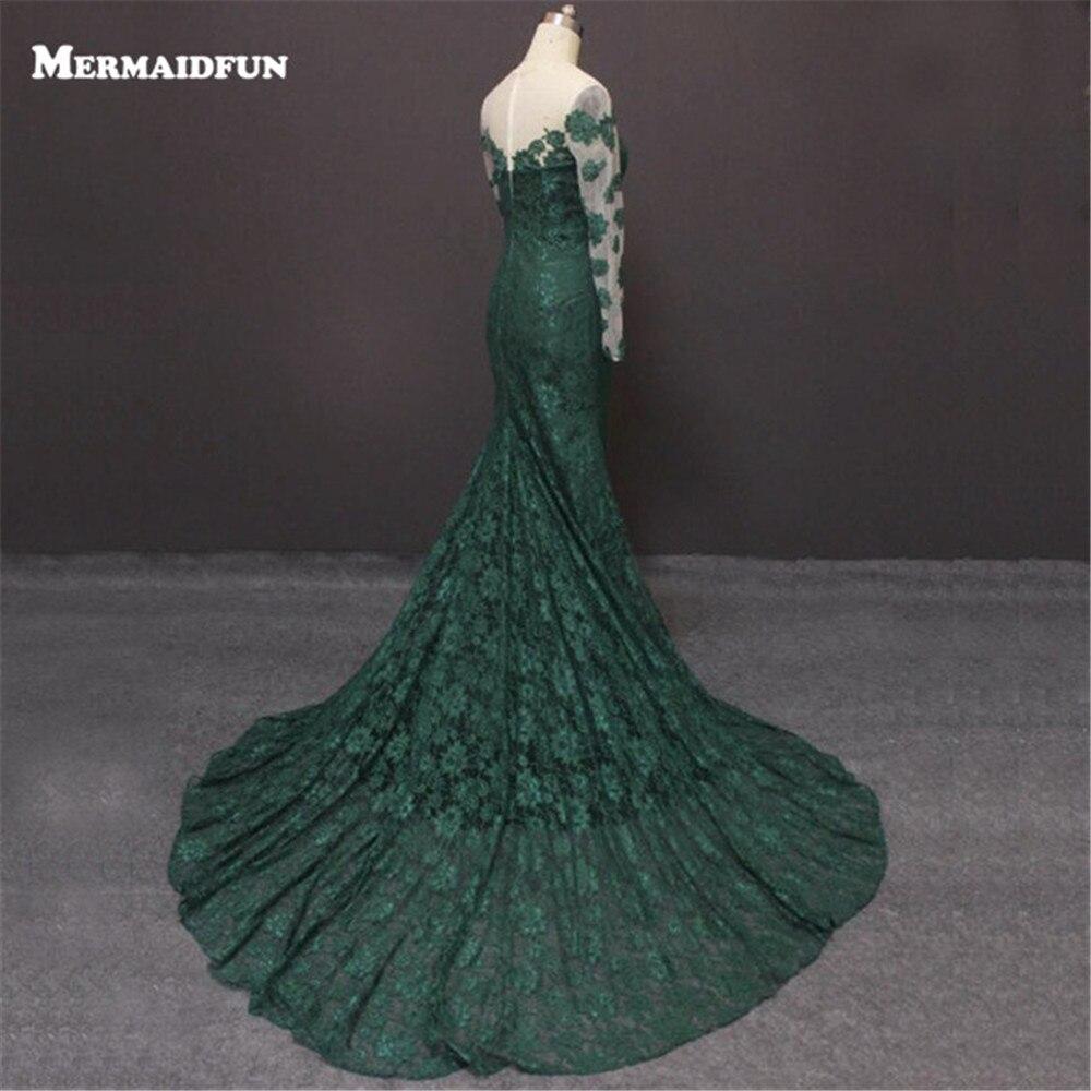 Mermaid Long Sleeve Green   Evening     Dress   With Long Train Formal Party Prom   Dress     Evening   Gown Vestido De Festa