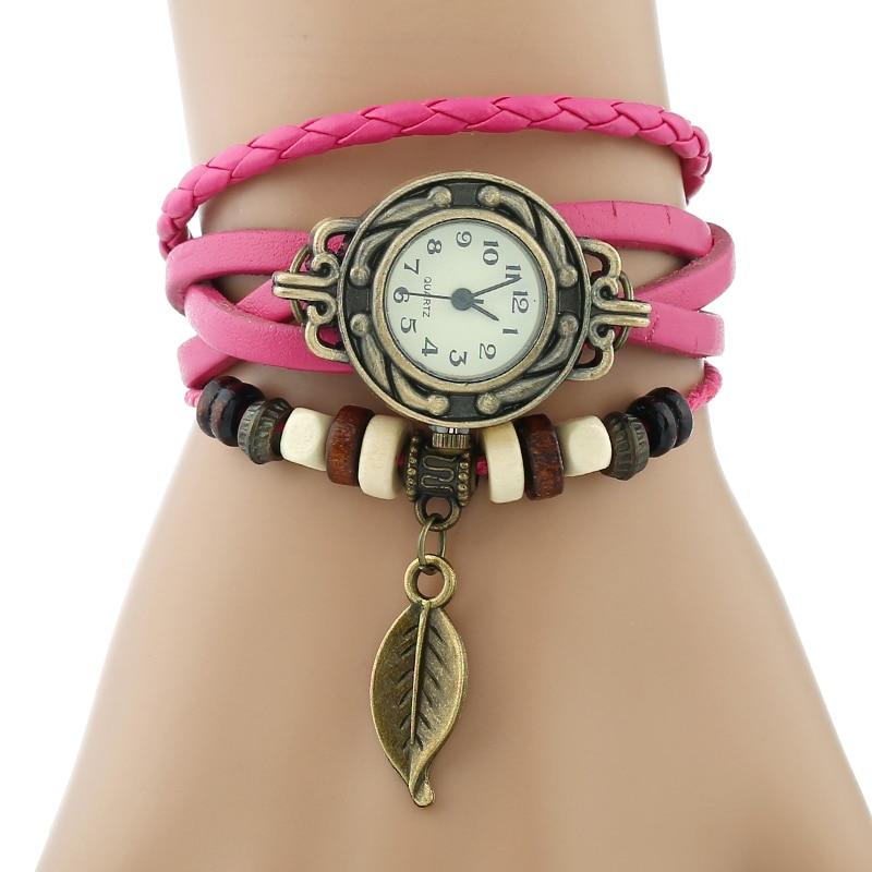 Classic Genuine Leather Bracelet Women Vintage Wrist Watch 2