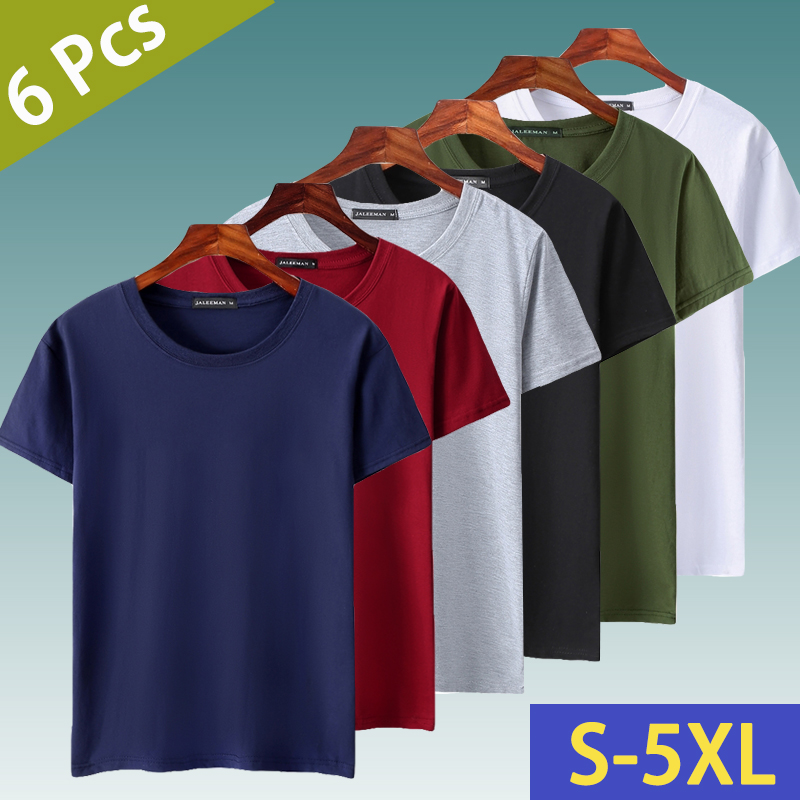 6pcs/Lot T Shirts Men Women Cotton Summer Short Sleeve Solid Male Female Fitted Tshirts Top Tees O-Neck Plus Size Tee Shirt 5XL