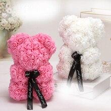 25cm Rose Bear PE Foam Flower Artificial Women Girlfriend Kid Gift Plush