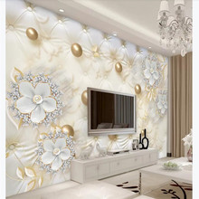 Customized high-end wallpaper 3d luxury white flowers soft package ball jewelry TV background wall waterproof material