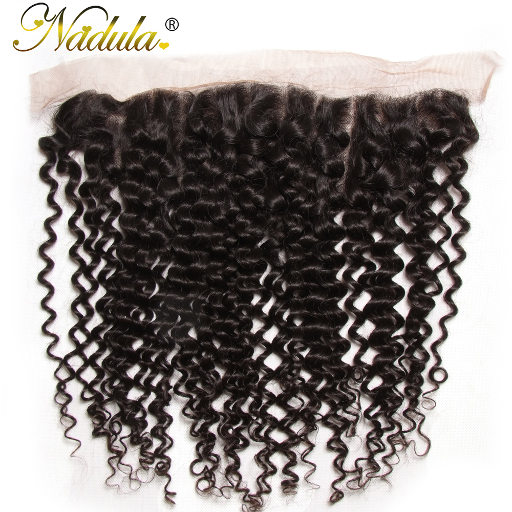 Nadula Hair 130% Density Brazilian Curly Hair Lace Frontal Remy Hair 13x4 Ear to Ear Free Part Closure Natural Color