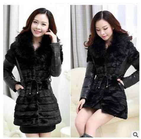 משלוח חינם נשים טלאי עור מפוצל פו פרווה מעילים שחור בתוספת גודל נשי מזדמן חורף Outwears אופנה פרווה מעילי K60