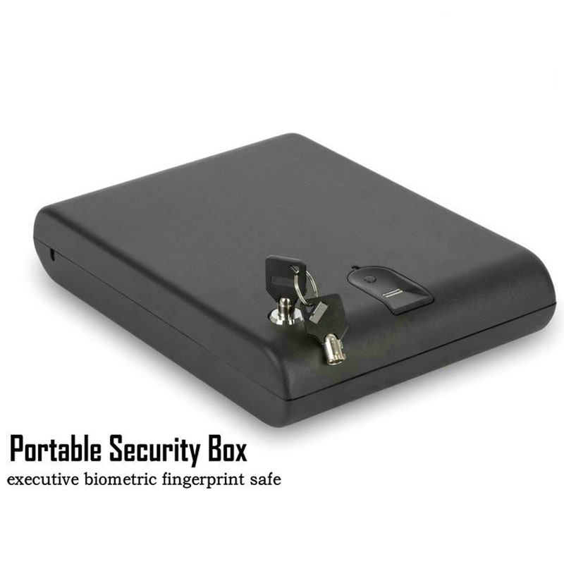 Fingerprint Safe Box Solid Steel Security Key Gun Valuables Jewelry Box Protable Security Biometric Fingerprint Safes OS120B protable safes strongbox fingerprint safe box security fingerprint and key lock 2 in 1 valuables jewelry box for car household