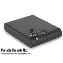Fingerprint Safe Box Solid Steel Security Key Gun Valuables Jewelry Box Protable Security Biometric Fingerprint Safes OS120B