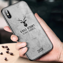 for iPhone XS case iPhone XS Max cover silicone frame classic deer pattern fabric back cover for iPhone X XR case check pattern protective silicone back cover case w rhinestone for iphone 5 purple