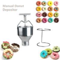 Portable Stainless Steel Mini Manual Donut Maker Machine Handheld Cake Donut Hopper Donut Dropper Griddle Cake