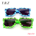 YBZ 10pcs Hot Minecraft Style Kids Sunglasses Creeper Glasses Mosaic Sun Glasses Men Women Boys Children Pixel abstract Eyewares