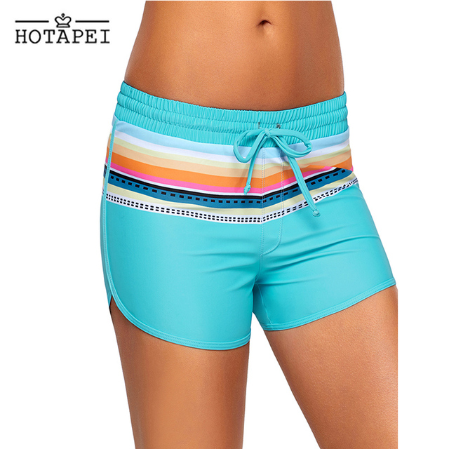 hotapei new Women Board Shorts Striped Print Black Drawstring Swim Shorts L410571 bathing beach surfing praia sweat joggers lady