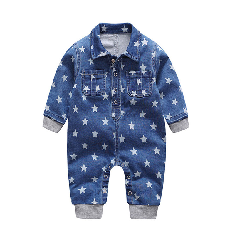 2018 Soft Denim Baby Romper Star Print Infant Clothes Newborn Jumpsuit Babies Boys Costume Cowboy Fashion Jeans Children Clothes puseky 2017 infant romper baby boys girls jumpsuit newborn bebe clothing hooded toddler baby clothes cute panda romper costumes