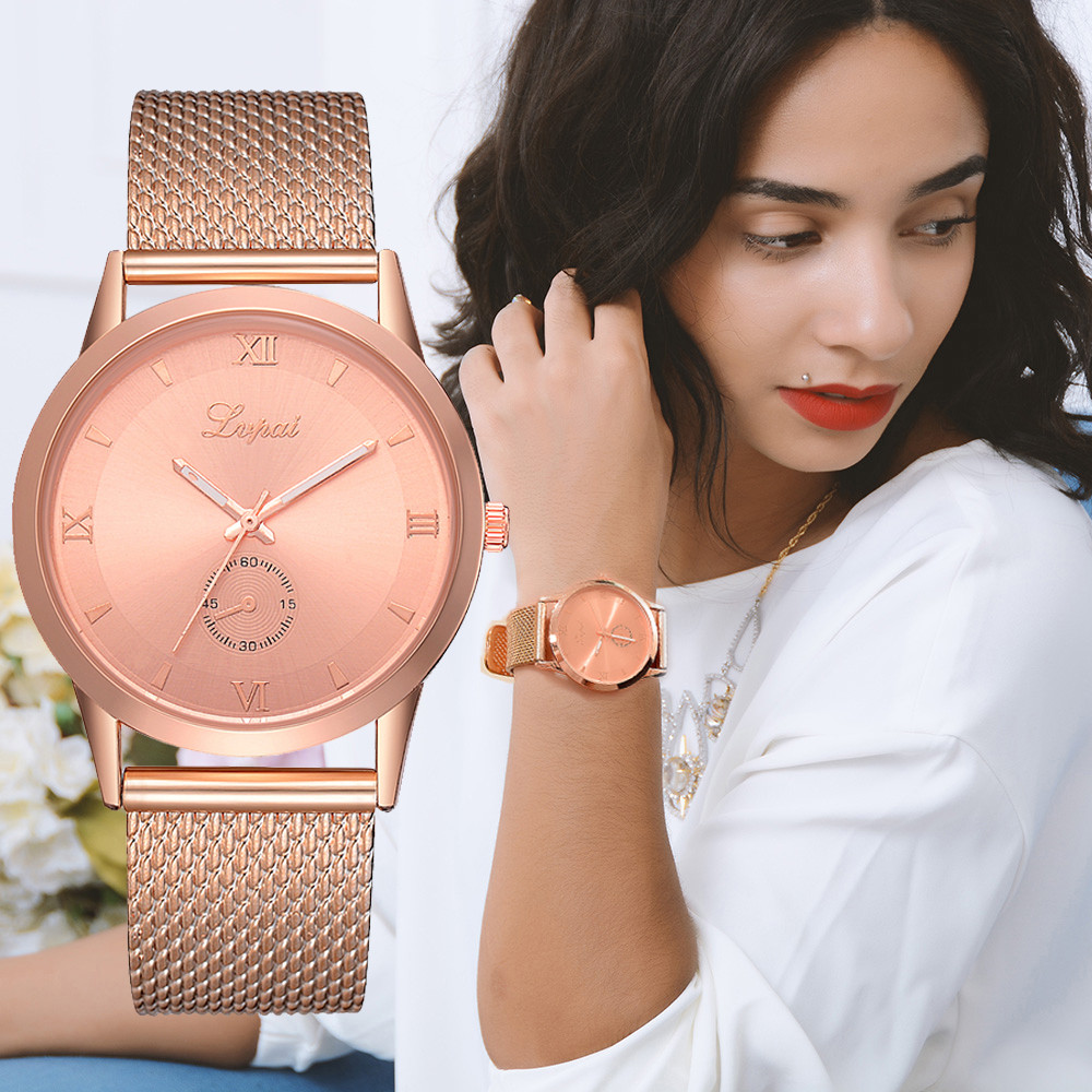 LVPAI Watches Women Stainless Steel Bracelet Analog Quartz Watch 2018 Luxury Brand Casual Wristwatches Montre femme P30