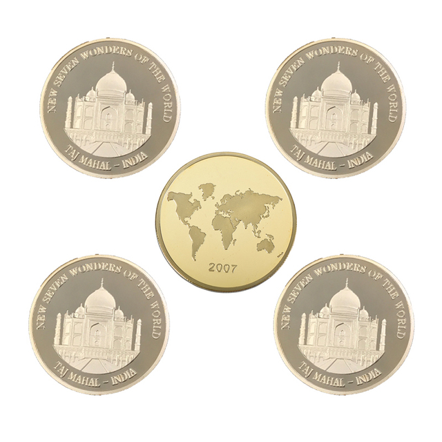 India Souvenir Coin Taj Mahal Wonders Of Famous Building Coins Romantic Love To Girl Friend Birthday Gifts 5pcs