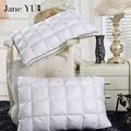 JaneYU 20% Goose Down 80% Feather Fabric Pillow white color Down-proof Cotton pillows bedding neck almohada Neck Health 48*74cm