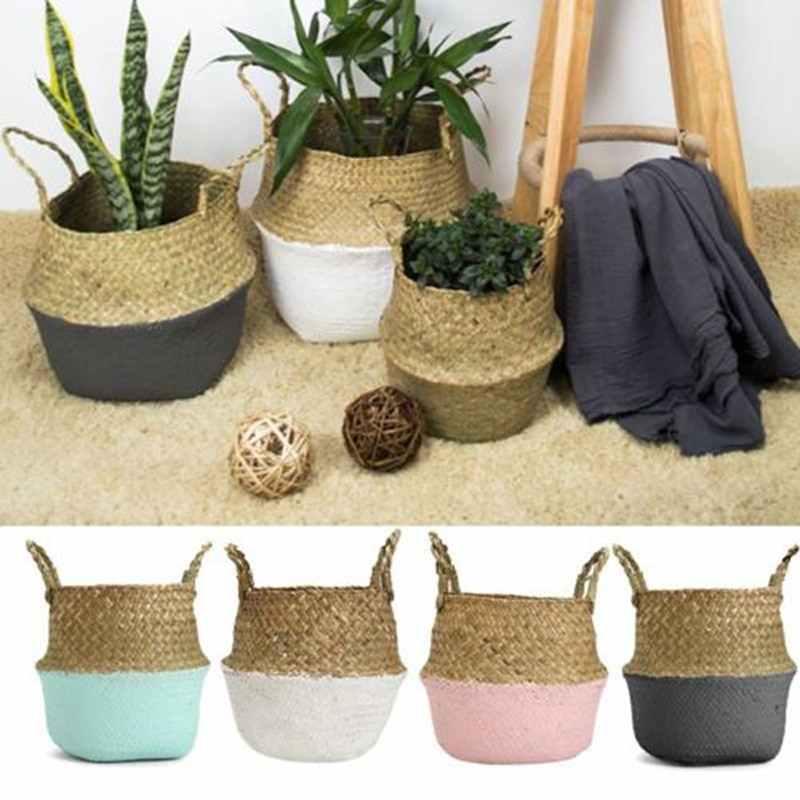 Плетеная соломенная корзина из ротанга, морские водоросли, складной цветочный горшок для белья, ваза для цветов, домашняя садовая подвесная корзина для свадьбы