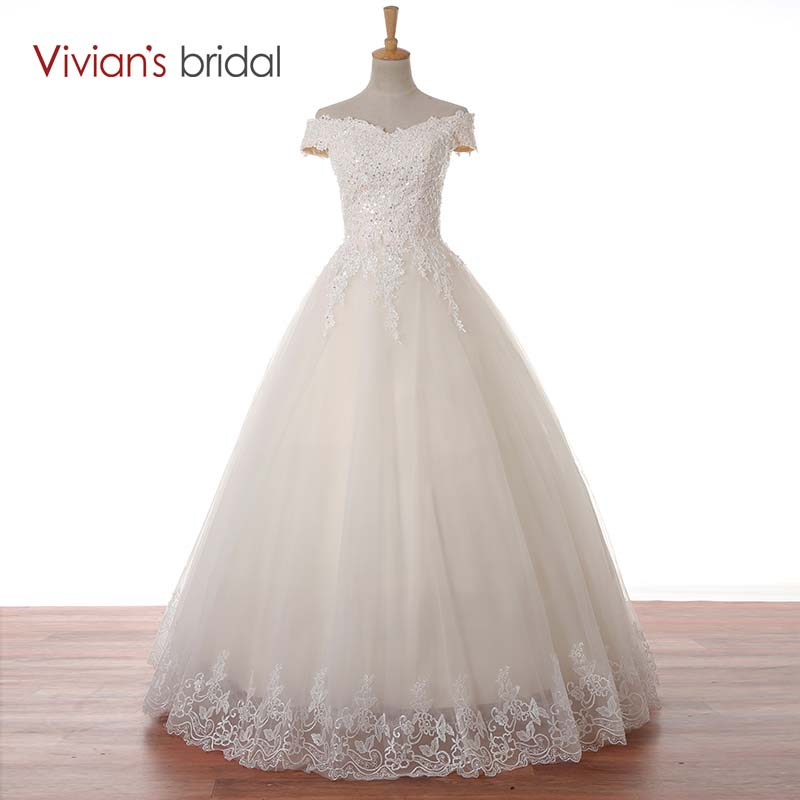 Vivian's Bridal Cekiny Koronkowe aplikacje Off Shoulder Strapless Suknia Balowa Suknia ślubna Suknia ślubna Długość podłogi