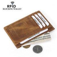 Hakiki Deri Kredi Kartı Vaka Kredi Kartları için Rfid Engelleme Cüzdan Vintage Kart Organizatör Rfid Kart Koruma Cardholder