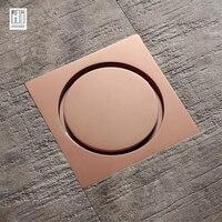 HIDEEP New Brass Rose Gold Shower Drain Sink Bathtub Drainer Bathroom Toilet Kitchen Balcony Universal Floor Drain