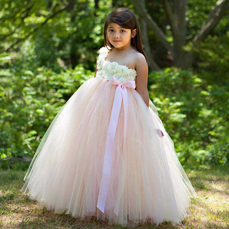 цена Latest Beige and Pink Tutu Flower Girl Dress Blush Pink Flower Baby Girls Dress for Wedding Dresses for Girls Clothes