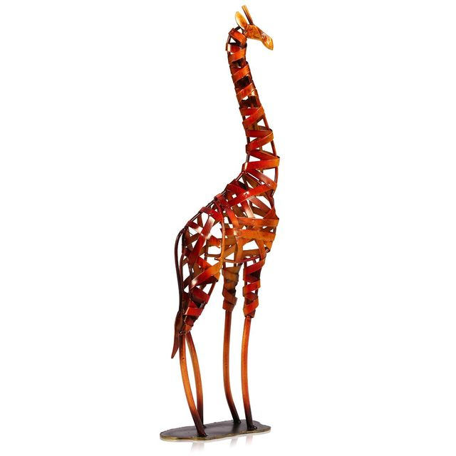 Tooarts Metal Figurine Iron Rooster Home Decor Articles: Metal Figurine Iron Braided Giraffe