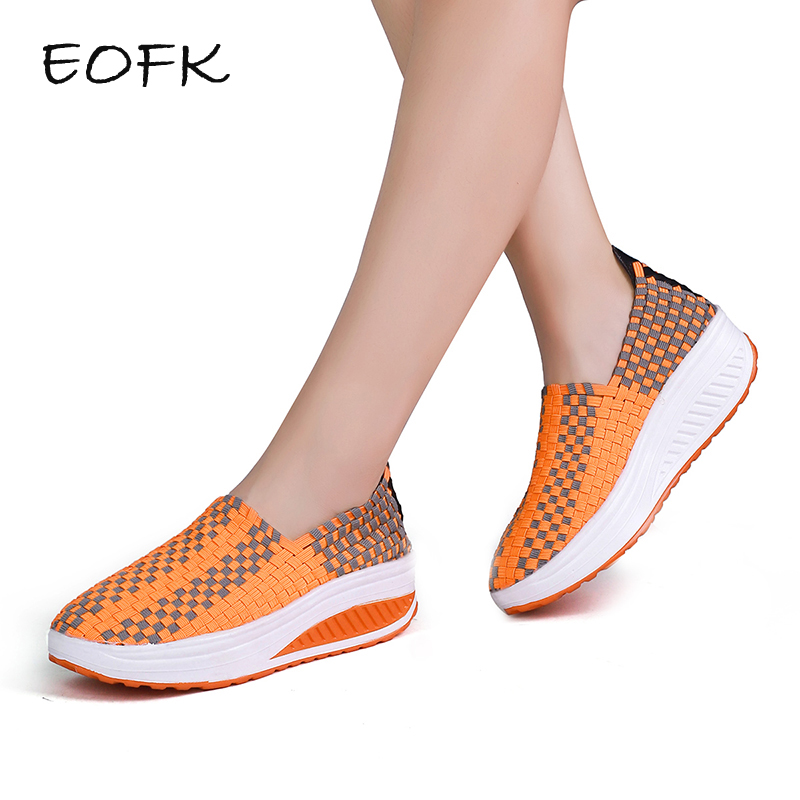 EOFK Spring Summer Breathable Women Hand Elastic Woven Shoes Flat slip on Platform Shoes цена 2017