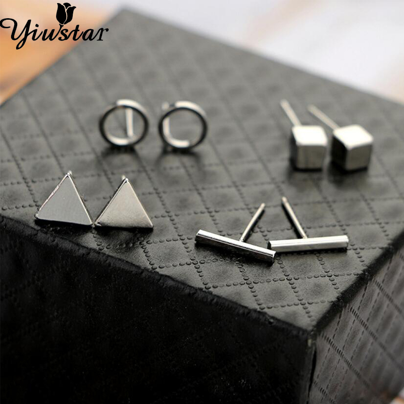Yiustar New 4pair/Set Geometric Triangle Round Square T Bar Stud Earrings For Women Girls Kids Trendy Jewelry Brincos Bijoux