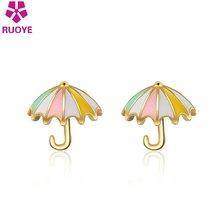 Женские серьги гвоздики с зонтиком креативные золотые из стерлингового