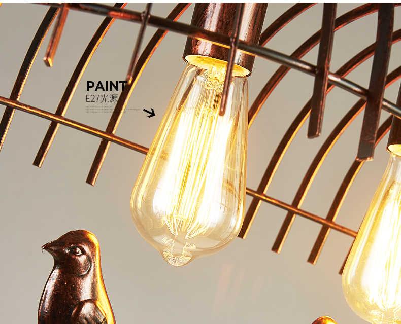 Industrial metal hanging lamp bird wrought iron chandelier lighting retro kitchen bar  pendant lamp lamparas industriales