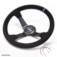 Auto 350mm Deep Dish Drift Racing Steering Wheel Suede Leather With Horn Button TK FXP1701R AF