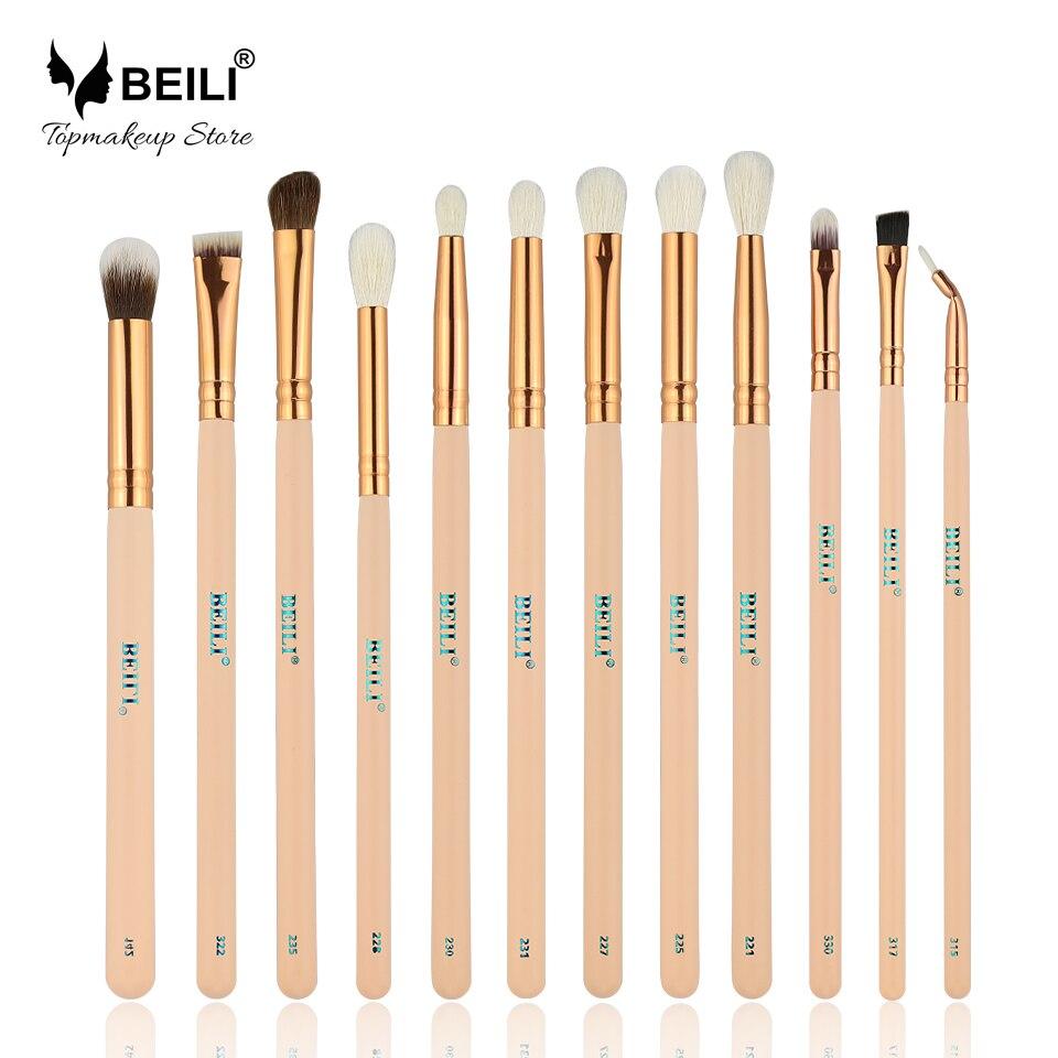 BEILI 12pcs Rose Golden 100% Natural Goat Pony Synthetic Hair Eye shadow Eyeliner Concealer Makeup Brush Set цена