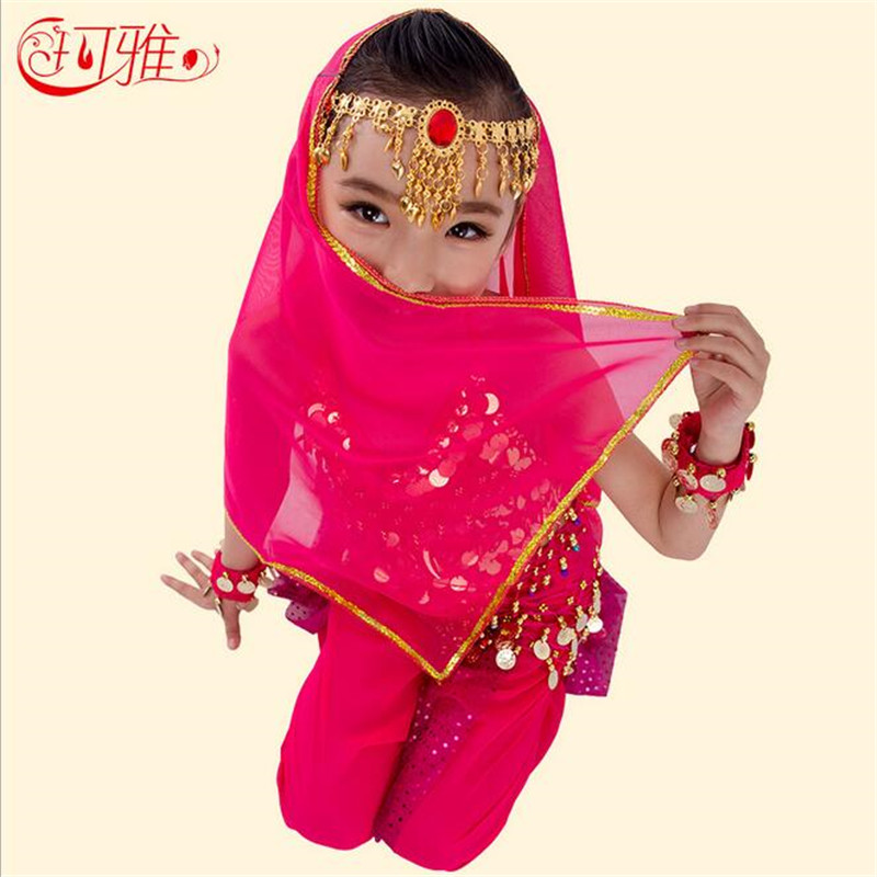 New Belly Dance Costumes For Kids Girls Performance Bollywood Indian Child Danse Tanzkleid Sequins Pants Top Dancing Wholesale
