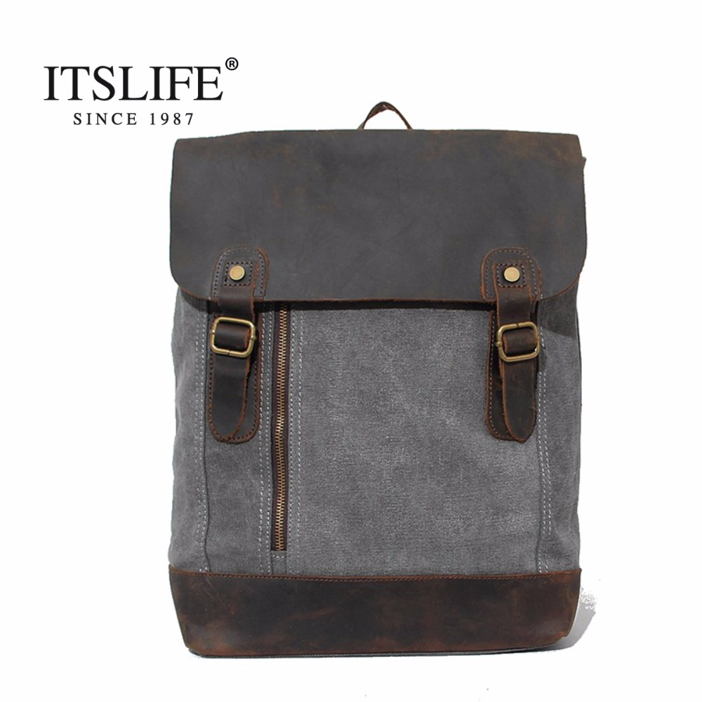 New Vintage Fashion Casual Crazy Horse Leather Canvas Women Men Backpack Backpacks Shoulder Bag