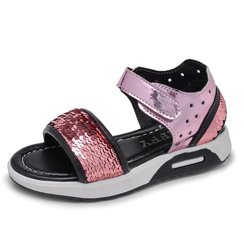 Glitter Bling Sandals for Children Summer Shoes Non-slip Soft Open Toe Sequined Princess Beach Sandals for Girls Boys EUR 27-37