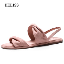 BELISS 2019 Women Flats Sandals Hot Sale Fashion Summer Sweet Heel Slip On Flock Ladies Shoes Open Toe S58