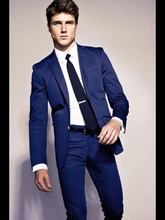 Free delivery jacket pants tie single breasted suit 2017 royal blue dress wedding fashion leisure suit