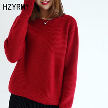 HZYRMY Winter New Women's O-Neck Cashmere sweater Loose Large size High Quality Wool Pullover Solid Short Female Thick Sweater цена и фото