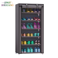 Shoe Cabinet 7 Layer 6 Grid Non Woven Fabrics Large Shoe Rack Organizer Removable Shoe Storage