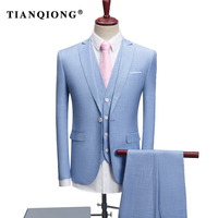 TIAN QIONG 2018 New Spring/Autumn Blue Formal Mens Suits Slim 3 Pieces Party Men Suit Costume Homme Mariage Tuxedos Size S 4XL
