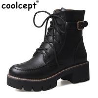 Coolcept Plus Size 34-43 Vrouwen Gebonden Lace Up Vrouwen Laarzen Warme Winter Dikke Platform Werk Mode Schoenen Vrouwen fabriek Groothandel