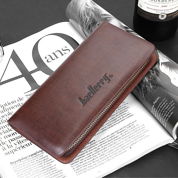 Famous Baellerry Brand long Men s leather wallet man clutch bags for business with Cell phone