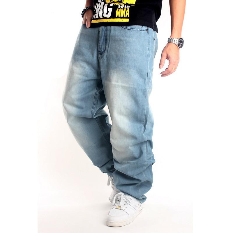 2019 Loose Hip Hop Jeans Männer bedruckte Jeans Europa Flut Marke Männer Jeans lose beiläufige Modehose HIPHOP Hip-Hop Skateboard
