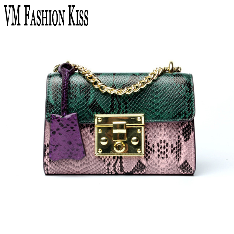 VM FASHION KISS Genuine Leather Serpentine Chain Small Messenger Bags For Women High Quality Mini Shoulder Bags Falp Bag Lady fashion sheepskin mini women bag retro small fragrant bag chain diamond lattice small shoulder bags hasp women messenger bags