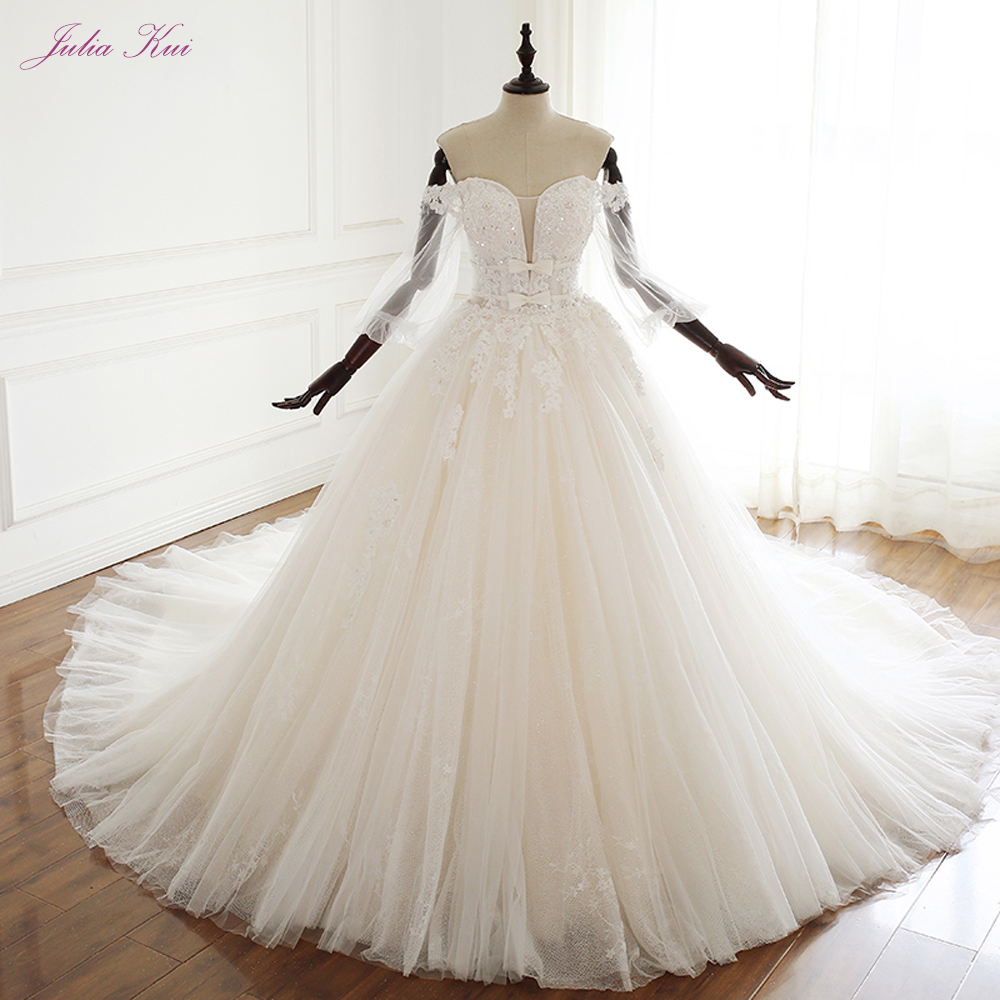 JULIA KUI Strapless A Line Wedding Dress Of Lace Up Closure With Two Bow On The